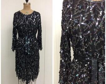 1980s Sequin Flapper Party Dress 80s
