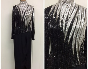 1980s Bob Mackie Gown Dress 80s Beaded Black Silver