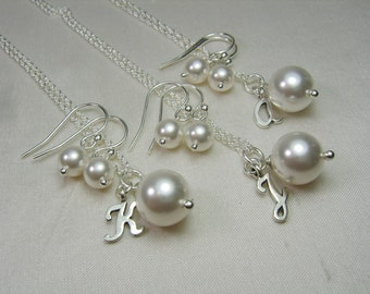 Personalized Bridesmaid Jewelry Pearl Bridesmaid Necklace Earring Set Pearl Initial Necklace Wedding Jewelry Set Bridesmaid Gift