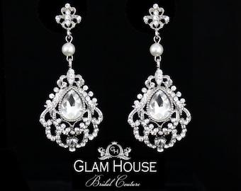 Glamour bridal earrings ,pearl bridal jewelry