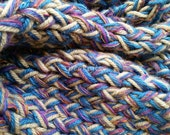 Scarf, Handknit Twisted and Garter Stitch ~ Pink, Orange, Tan, Blue, Gold and Purple Multi Strand Cotton Silk and Acrylic Yarn, Thick, Heavy