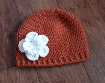 fashionable baby Texas Longhorns bringing baby home child kids hat crochet beanie photo prop fast shipping burnt orange pumpkin white flower