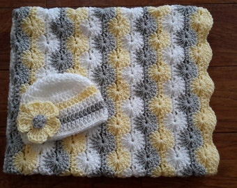 baby girl gift set crochet baby blanket and hat gift set : yellow and gray baby quilt - Adamdwight.com