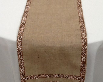 Giraffe Print and Burlap Table Runner, READY to SHIP, Baby Shower, Bridal Shower, Wedding, Party, Zoo, Jungle, Safari, Travel