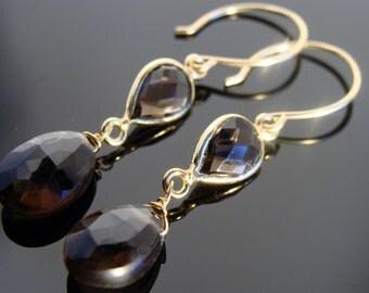 Smoky Quartz 14K gold filled Earrings