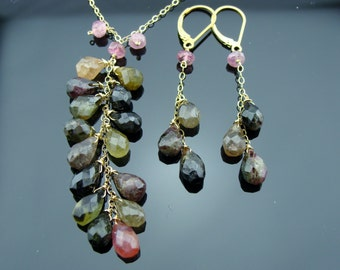 Watermelon Tourmaline 14k Gold Filled Gemstone Necklace and Earrings Set