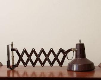 Vintage Metal Articulating Scissor Accordion Desk Lamp Task Lamp, Mid Century Modern, Brown