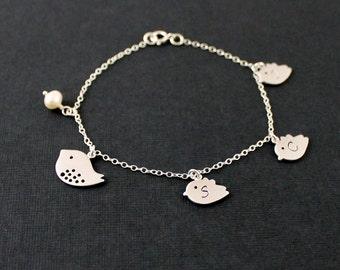 SALE - Silver Bird Bracelet Initial Bracelet Bird Family Bracelet Children's Initial  Personalized Mom Jewelry Grandma Gift