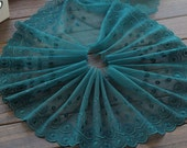 2 Yards Lace Trim Green Embroidered Tulle Lace Trim 7.48 Inches Wide High Quality