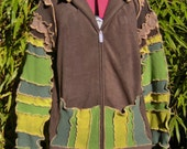 men fleece sweater jacket hoodie jumper green brown patch vest festival ooak forest man