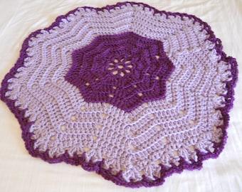 Chunky Handmade Baby Blanket, Modern, Flower Shape, Purple, Eggplant, Lavender, Machine Washable, Blankie, Afghan, Throw, Ready to Ship
