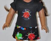 Black Lady Bug Top Handmade Black Bug Print Skirt Hand Crocheted Black Hat and Flower Fits American Girl Doll