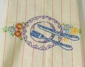 Vintage Embroidered Linen Dishtowel Dish Towel Dinner Plate Fork Knife Red Stripe