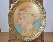 Vintage Portrait in Pastel-Young Blonde Woman:Oval Frame