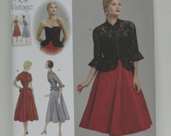 Vintage Retro Style Strapless Dress and Jacket Pattern, Party Holiday Dress, Retro Design 1950s Pattern, Simplicity 1250, SZ 6 through 14