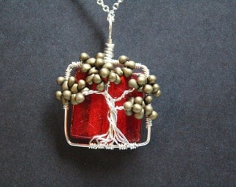Olive Green Tree of Life on a Red Square Glass Foil Bead Necklace Pendent