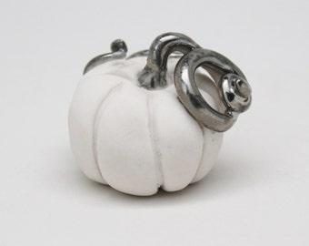 Tiny Pumpkin, White and Silver Pumpkin, Handmade Porcelain Miniature, Fall Decoration, Halloween Decoration