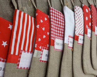 Family stockings, red and white stockings, linen stockings, custom made stockings, large family