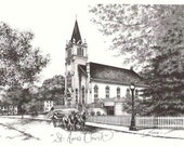Saint Anne's Church, Mackinac Island Michigan, Anniversary Wedding Valentine, Vintage Inspired 5x7 Fine Art Print