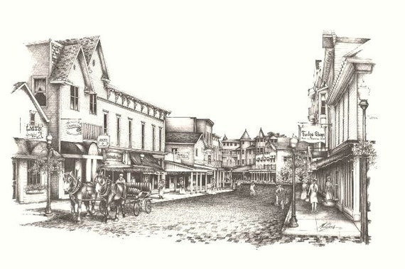 Vintage Inspired Mackinac Island Streets- Limited Edition Black and White Lithograph Art Print