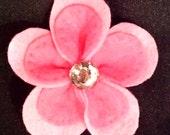 Pink Felt Flower Hair Pin