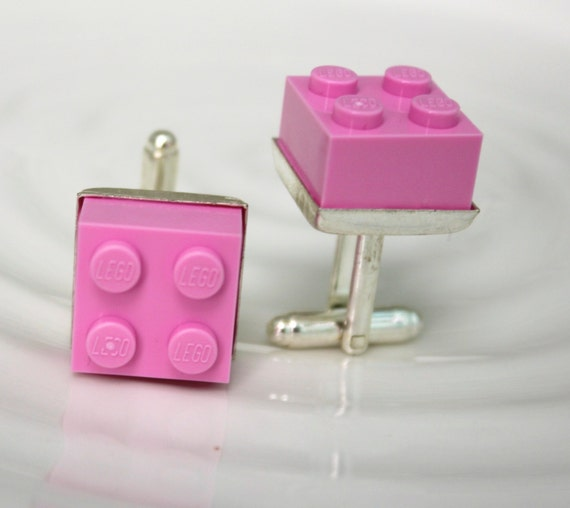 Soft Pink Lego Cufflinks - Silver plated - Valentine's Day Gift - Colorful Cuff Links