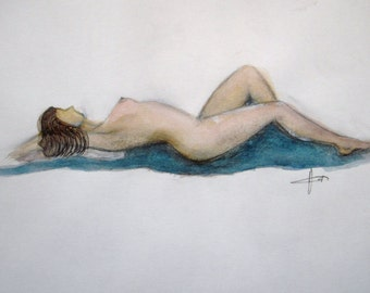"Female Nude -  original painting - figure painting - watercolor painting 6""x9"""