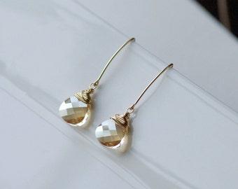 Swarovski Crystal Earrings, Wedding Earrings, Bridesmaid Earrings, Bridal Earrings, Dangle Earrings, Crystal Drop Earrings, S/S, RG, 14k GF