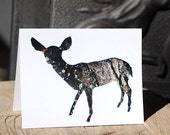 White-tailed Deer - Rustic Holiday Nature Card, 100% Recycled Paper - Bark Animal Silhouette Art