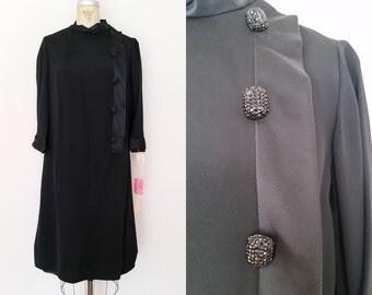 Vintage 1960s BILL BLASS Silk Dress / Black Dress / Cocktail Dress / Tags Attached / Large XL