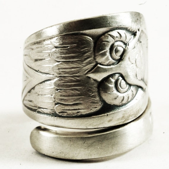 owl ring spoon ring with owl bird sterling silver by spoonier