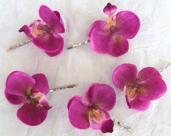 Violet Orchid hair fascinators mini real touch phalaenopsis orchid hair clips bridal hair clip tropical fascinator