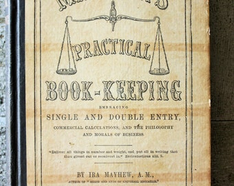 1875 Instructional Book-Keeping Book. Great graphs, charts instructional illustrations.