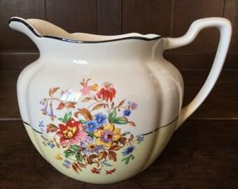 Vintage English Flowers Cream Milk Pitcher Jug circa 1920-30's / English Shop