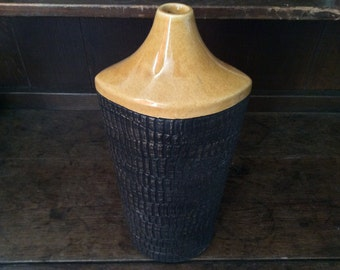 Vintage English Tall Brown With Black Painted Detail Vase circa 1970's / English Shop