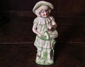 Vintage English Girl with Drum and Hat Figurine circa 1960's / English Shop
