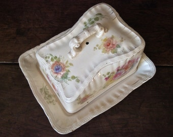 Vintage English Butter Cheese Dish Dome Cover Plate circa 1930's / English Shop