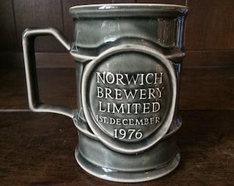 Vintage English Norwich Brewery Tea Coffee Tankard Cup Mug Drinking Beer Ale circa 1970's / English Shop