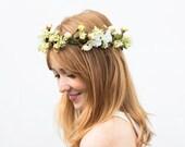 Woodland Bridal Flower Crown, Bridal Headpiece, Boho, Hair Wreath, Wedding Hair, Bridal, Spring Wedding, Ivory Flower