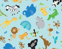SALE 1 Yard of Zoofari Main Animals in Blue by Doodlebug Design for Riley Blake