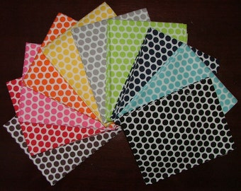 Honeycomb Polka Dot Fat Quarter Bundle of 10 with a White Background by Riley Blake