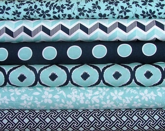 Mixologie in Teal and Navy Fat Quarter Bundle of 6 by Studio M for Moda - LAST ONE