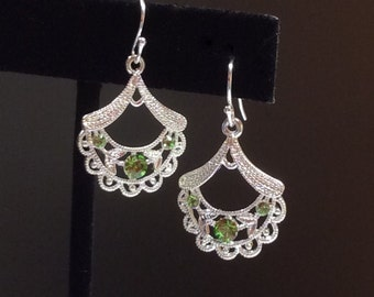 Silver earrings for her with Peridot Swarovski crystals  - .925 hook- August birthday - Free shipping to Canada & USA