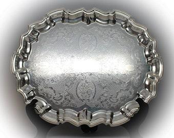 Sparkling Vintage Sheffield Silver Chippendale Salver with Pie Crust Border