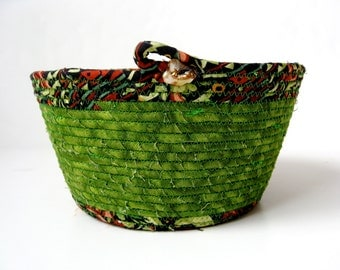 Coiled Rope Basket in Grass Green -St. Patricks Day Basket
