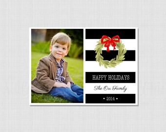 Black Stripe Christmas Card:  Printable File  {Professional Printing Available}