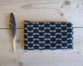 dragonfly indigo zipper pencil pouch cosmetic bag - blue pencil pouch - dragonfly print - unisex pouch - metal zipper pouch