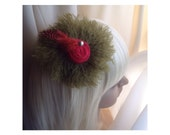 Fascinator / Brooch Olive Green Wool, Feathers, Pearl Cabuchon, Red Trim Dual Purpose Pin / Clip For  Hair, Coat, Bag, Scarf,  FREE SHIP USA