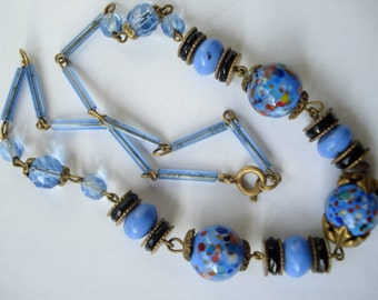 Art Deco Necklace with Blue, Black and Confetti Beads 1920's 1930's