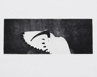 Miniature art, ibis etching, bird print